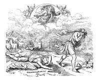 Uitstekende Tekening van Bijbels Cain Who Murdered His Brother Abel royalty-vrije illustratie