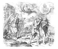 Uitstekende Tekening van Bijbelse Adam en Vooravond en Uitwijzing van Paradise stock illustratie