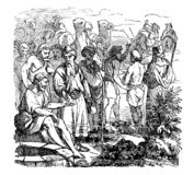 Uitstekende Tekening van de Mens Doing Business met Caravanhandelaar Bijbels Verhaal over Joseph Sold in de Slavernij door van he royalty-vrije illustratie