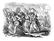 Uitstekende Tekening van Engelen die Familie van het Branden van Stad leiden Bijbels Verhaal over Sodom en Gomorrah stock illustratie