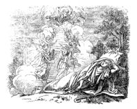 Uitstekende Tekening van Mensenslaap dichtbij Passage aan Hemel Bijbels Verhaal over Jacob en Laban stock illustratie