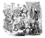 Uitstekende Tekening van Mensenzitting op Luxeblokkenwagen of Wagen en het Berijden door Menigte Bijbels Verhaal over Bevordering royalty-vrije illustratie