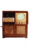 Uitstekende televisie met phongragh en radio royalty-vrije stock afbeeldingen