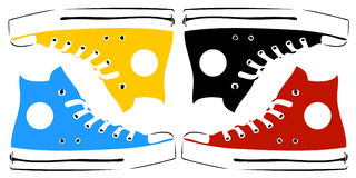 Uitstekende tennisschoenen in pop-art Stock Afbeelding