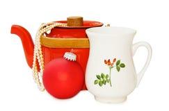 Uitstekende theepot en van Kerstmis decoratie - weg Royalty-vrije Stock Afbeelding