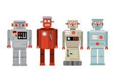 Uitstekende tinstuk speelgoed robots /illustration Stock Afbeelding