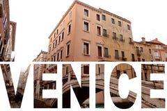 Uitstekende toon van de gebouwen van Venetië met tekst als voorgrond vector illustratie