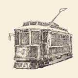 Uitstekende tram, gegraveerde illustratie Royalty-vrije Stock Afbeeldingen