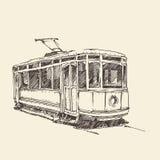 Uitstekende tram, gegraveerde illustratie Royalty-vrije Stock Fotografie