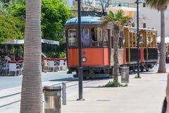Uitstekende trein, tram in Port DE Soller, Mallorca Stock Foto's
