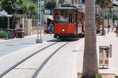 Uitstekende trein, tram in Port DE Soller, Mallorca Royalty-vrije Stock Foto's