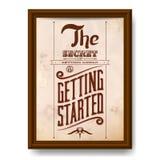 Uitstekende typografische motievencitaataffiche Stock Foto