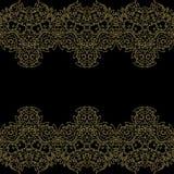 Uitstekende uitnodigingskaart met het patroon van de kantbloem Stock Fotografie