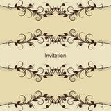 Uitstekende uitnodigingskaart met patroon op bruin stock illustratie