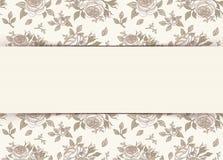 Uitstekende uitnodigingskaart met rozen Vector illustratie Royalty-vrije Stock Afbeelding