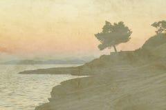 Uitstekende vakantiekaart op oude document achtergrond Overzeese mening van enige olijfboom en zonsondergang royalty-vrije illustratie
