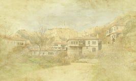 Uitstekende vakantiekaart op oude document achtergrond Straatmening van de traditionele architectuur van Melnik, Bulgarije Woon,  stock illustratie