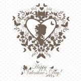 Uitstekende valentijnskaartprentbriefkaar Royalty-vrije Stock Afbeelding