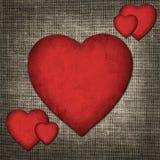 Uitstekende Valentine-kaart in de vorm van rode document harten Royalty-vrije Stock Afbeelding