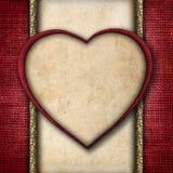 Uitstekende Valentine-kaart in de vorm van rode document harten Stock Foto