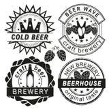 Uitstekende van van brouwerijembleem, emblemen en kentekens vectorreeks Royalty-vrije Stock Afbeeldingen