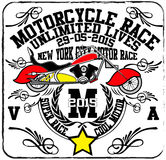 Uitstekende van de de Handtekening van het Motorras de T-shirtdruk Stock Foto's