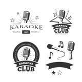 Uitstekende van de etikettenkentekens van de karaoke vocale partij vector de emblemenemblemen vector illustratie