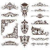 Uitstekende van het van de achtergrond elementen bloementierelantijntjes van het ornamentenontwerp witte de hoekenstickers randen royalty-vrije illustratie