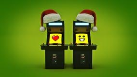 Uitstekende van het de machineconcept van het arcadespel Vrolijke Kerstmis Royalty-vrije Stock Afbeeldingen