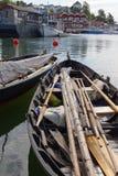 Uitstekende varende boten en roeispanen in de haven Royalty-vrije Stock Foto's