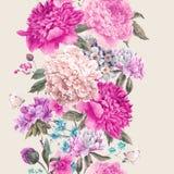 Uitstekende vector bloemen naadloze grens royalty-vrije illustratie