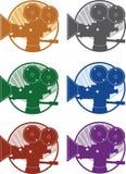 Uitstekende vector diverse kleuren van de cinematografiefilmcamera Stock Afbeeldingen