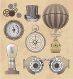 Uitstekende vector het ontwerpreeks van Steampunk Stock Fotografie