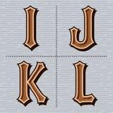 Uitstekende vector i, j, k, l van alfabet westelijke brieven Stock Afbeelding