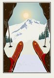 Uitstekende Vector Skiër die bereid om de berg te dalen worden De achtergrond van de winter Het Grungeeffect het kan worden verwi stock illustratie