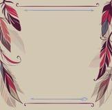 Uitstekende vectorachtergrond met hand getrokken veren vector illustratie
