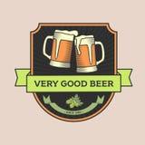 Uitstekende vectorillustratie, concepten of embleembar, bier Royalty-vrije Stock Afbeeldingen