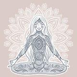 Uitstekende vectorillustratie met yogameisje De bemiddeling stelt Stock Foto's