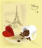 Uitstekende vectorkaart met de toren van Eiffel Royalty-vrije Stock Foto's