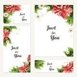 Uitstekende vectorkaartmalplaatjes Groetprentbriefkaar met bloemenele Royalty-vrije Stock Afbeelding