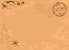Uitstekende vectorkerstmisprentbriefkaar met postzegel Royalty-vrije Stock Afbeelding