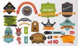 Uitstekende vectorreeks etiketten, banners, markeringen, stickers, kentekenselementen royalty-vrije illustratie