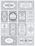 Uitstekende vectorreeks retro kaarten De kaartgrens of uitnodiging van de malplaatjegroet royalty-vrije illustratie