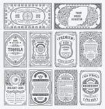 Uitstekende vectorreeks retro kaarten De kaartgrens of uitnodiging van de malplaatjegroet vector illustratie
