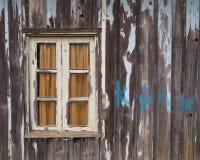 Uitstekende vensters op de oude houten plaat Stock Foto's
