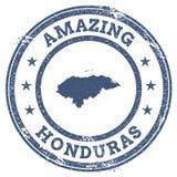 Uitstekende Verbazende de reiszegel van Honduras met kaart Royalty-vrije Stock Foto's