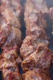 Uitstekende verse sappige stukken van het gebraden gerecht van de vleeskebab bij de houtskoolgrill Stock Foto's