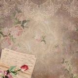 Uitstekende Victoriaanse Damastachtergrond - Kant - Rose Pattern - Franse Liefdebrief stock illustratie