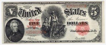 Uitstekende vijf dollarrekening Royalty-vrije Stock Afbeelding