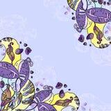 Uitstekende violette bloemenkaart Royalty-vrije Stock Foto's